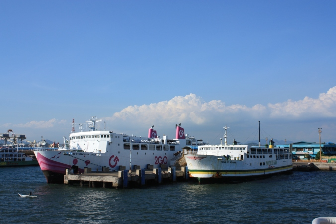 M/V St. Ignatius of Loyola of 2GO Shipping and Montenegro Shipping's M/V Reina del Rosario seen here at Port of Batangas.
